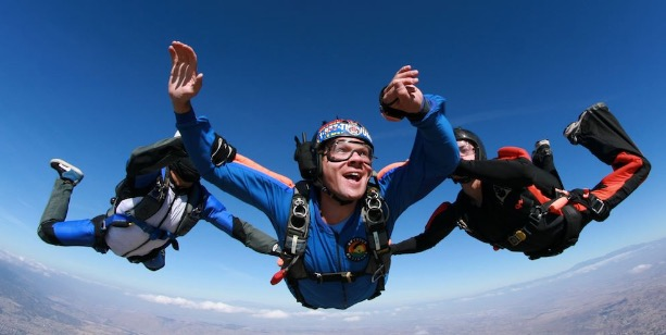 A man who is in the middle of an accelerated free fall in CA