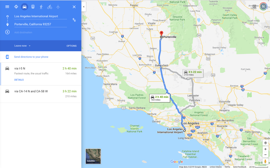 Portville is located 2 hours 40 mins from LAX.